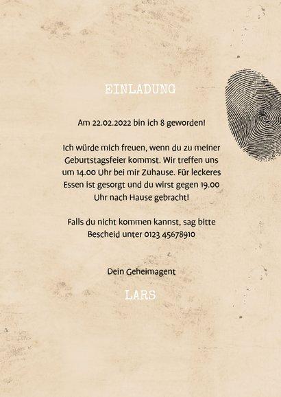 Einladungskarte zum Kindergeburtstag Geheimagent 3