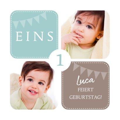 Einladungskarte zum Kindergeburtstag mit Fotos grün 2