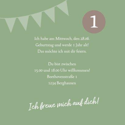 Einladungskarte zum Kindergeburtstag mit Fotos grün 3