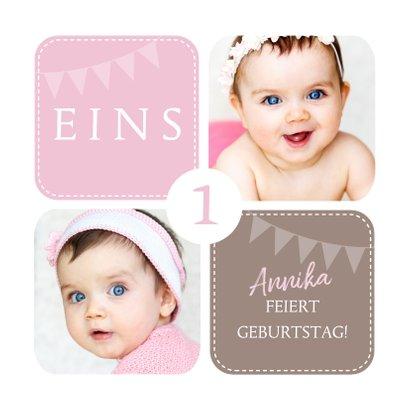 Einladungskarte zum Kindergeburtstag rosa mit Fotos 2