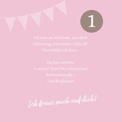 Einladungskarte zum Kindergeburtstag rosa mit Fotos 3