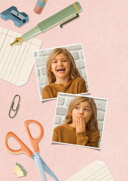 Einladungskarte zur Einschulung rosa Foto, Schere & Papier 2