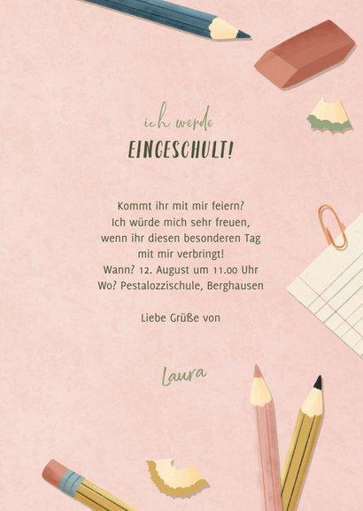 Einladungskarte zur Einschulung rosa Foto, Schere & Papier 3