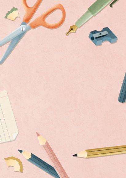 Einladungskarte zur Einschulung rosa Foto, Schere & Papier Rückseite