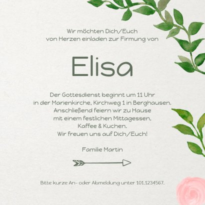 Einladungskarte zur Firmung Rosen und Zweige 3