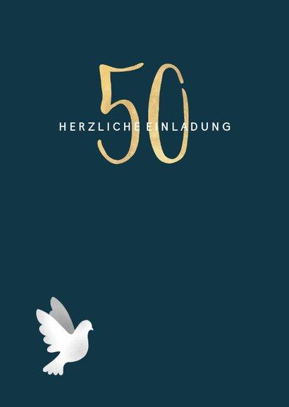 Einladungskarte zur goldenen Hochzeit dunkelblau mit Tauben 2