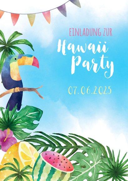 Einladungskarte zur Hawaiiparty Flamingo & Tukan 2