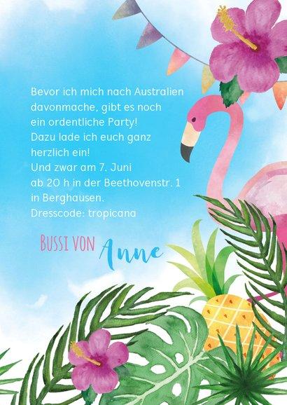 Einladungskarte zur Hawaiiparty Flamingo & Tukan 3