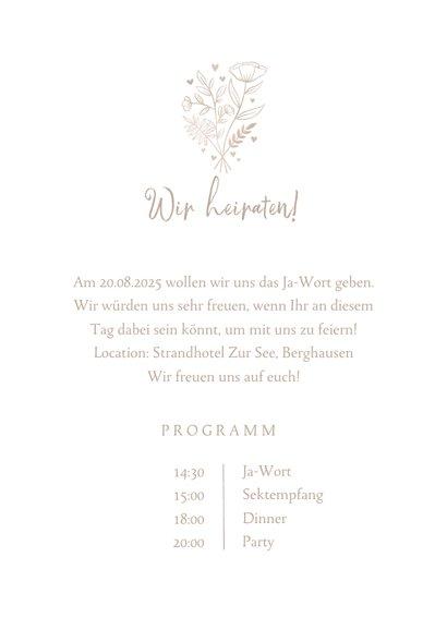 Einladungskarte zur Hochzeit altrosa Aquarell 3
