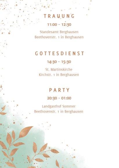 Einladungskarte zur Hochzeit Aquarell mintgrün mit Foto 2