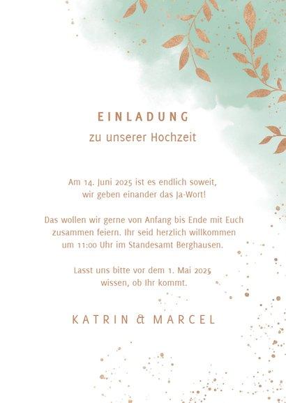 Einladungskarte zur Hochzeit Aquarell mintgrün mit Foto 3