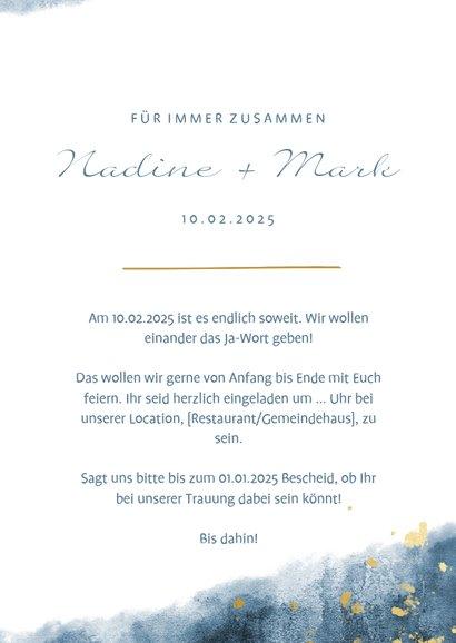 Einladungskarte zur Hochzeit Aquarelldesign Foto innen 3