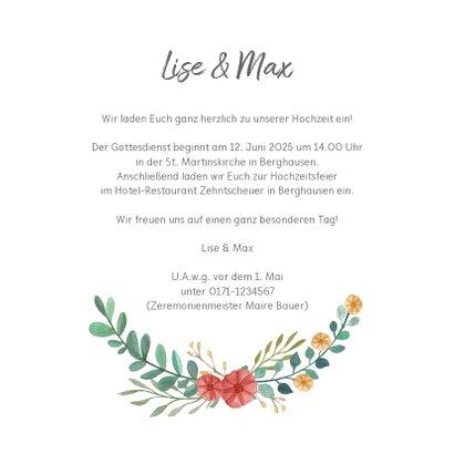 Einladungskarte zur Hochzeit Blumenornamente 3