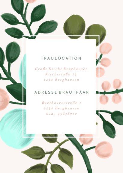 Einladungskarte zur Hochzeit Blumenzweige rosa 2