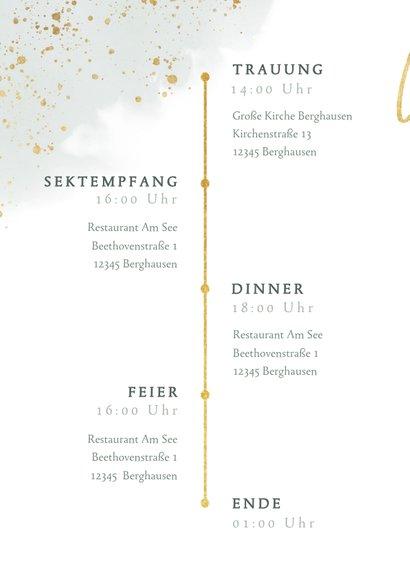 Einladungskarte zur Hochzeit Euklalyptus & Timeline 2