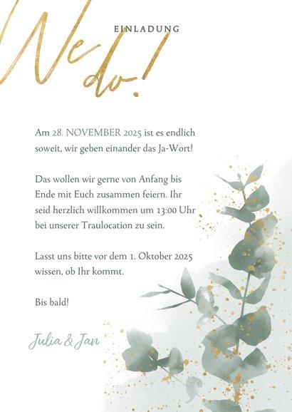 Einladungskarte zur Hochzeit Euklalyptus & Timeline 3