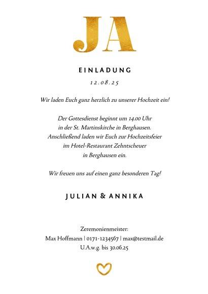 Einladungskarte zur Hochzeit Goldakzente Fotos A6 3