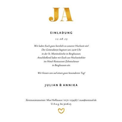 Einladungskarte zur Hochzeit Goldakzente Fotos Quadrat 3