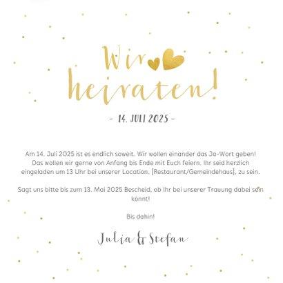 Einladungskarte zur Hochzeit goldenes Konfetti 3
