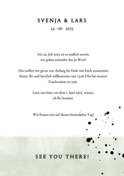 Einladungskarte zur Hochzeit im Aquarelllook mit Punkten 3