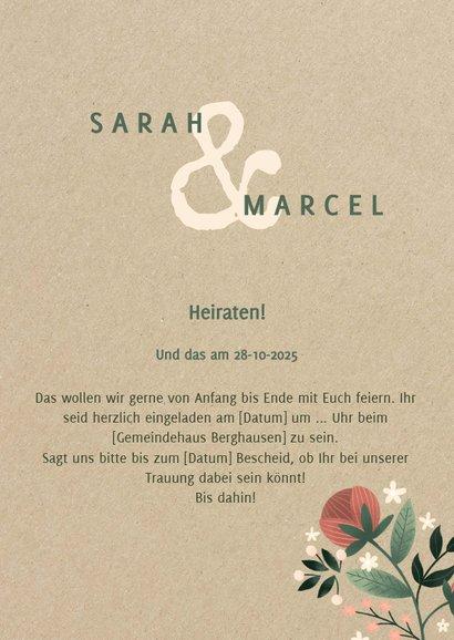 Einladungskarte zur Hochzeit im botanischen Look  3