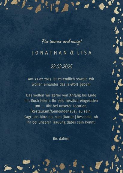 Einladungskarte zur Hochzeit in dunkelblau mit Goldrand 3