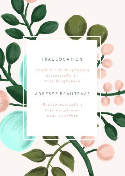 Einladungskarte zur Hochzeit in rosa mit Blumenzweigen 2