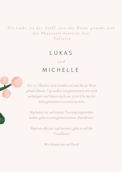 Einladungskarte zur Hochzeit in rosa mit Blumenzweigen 3