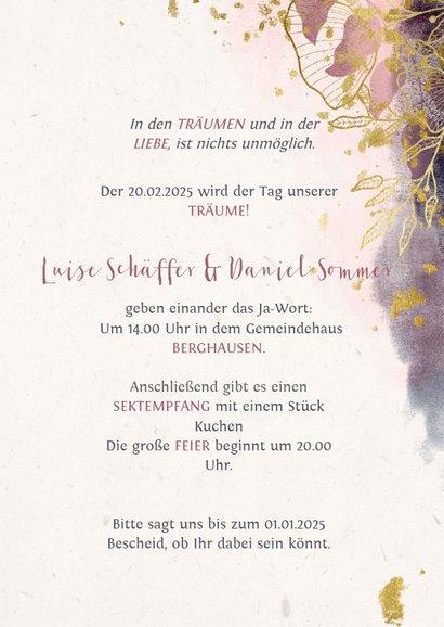 Einladungskarte zur Hochzeit in rosa mit stilvollen Blumen 3