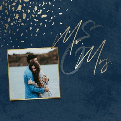 Einladungskarte zur Hochzeit mit Foto dunkelblau mit Gold 2