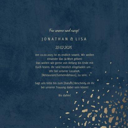 Einladungskarte zur Hochzeit mit Foto dunkelblau mit Gold 3