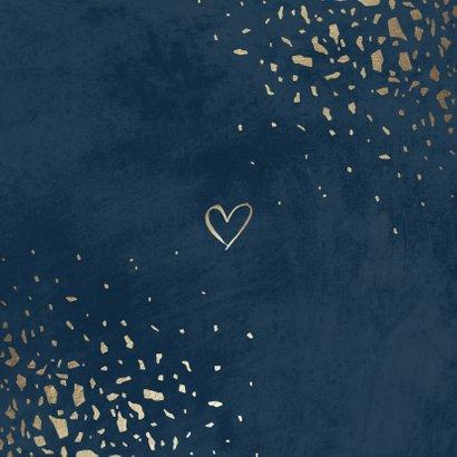 Einladungskarte zur Hochzeit mit Foto dunkelblau mit Gold Rückseite
