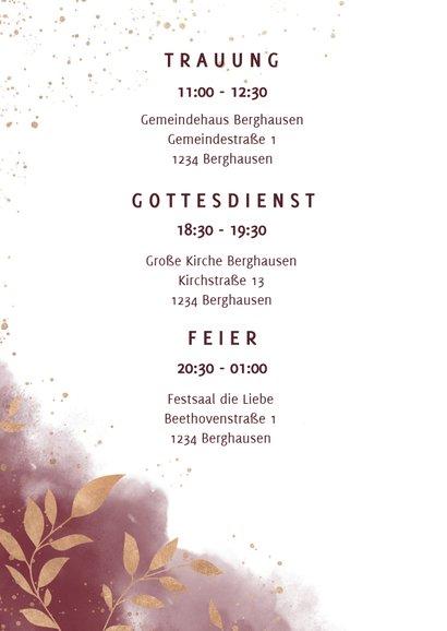 Einladungskarte zur Hochzeit mit Foto in rot mit Goldzweigen 2