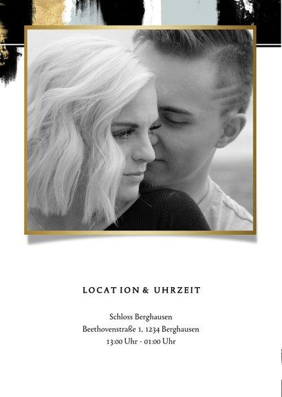 Einladungskarte zur Hochzeit mit Foto und Farbstreifen 2