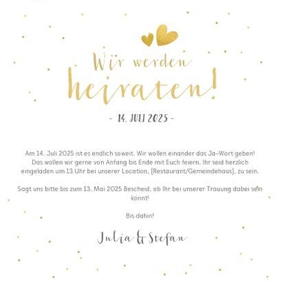 Einladungskarte zur Hochzeit mit Foto und goldener Schrift 3