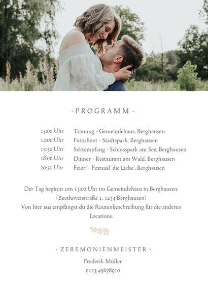 Einladungskarte zur Hochzeit mit Foto und Programmablauf 2