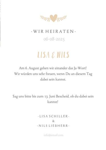 Einladungskarte zur Hochzeit mit Foto und Programmablauf 3