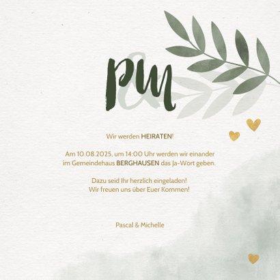 Einladungskarte zur Hochzeit mit Foto, Zweigen und Herzen 3
