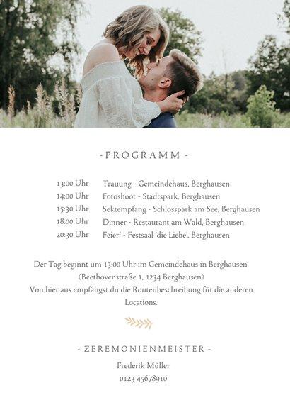 Einladungskarte zur Hochzeit mit großem Foto 2