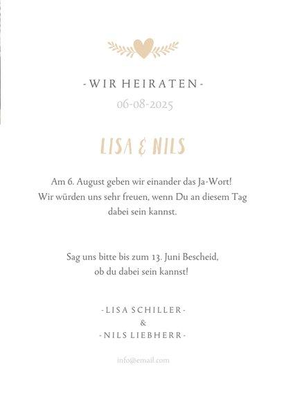 Einladungskarte zur Hochzeit mit großem Foto 3