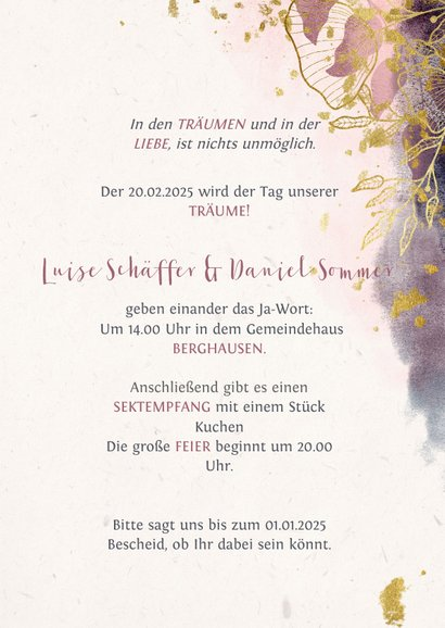 Einladungskarte zur Hochzeit mit stilvollen Blumen in rosa 3