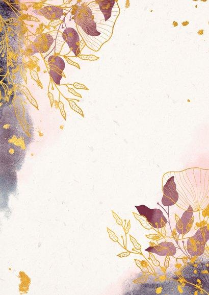Einladungskarte zur Hochzeit mit stilvollen Blumen in rosa Rückseite