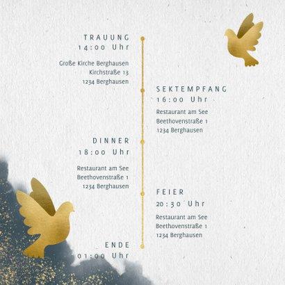 Einladungskarte zur Hochzeit mit Wasserfarben und Tauben 2