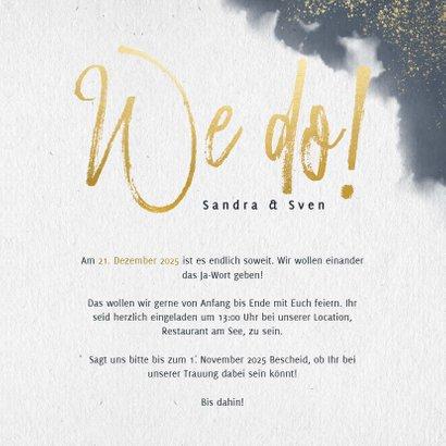 Einladungskarte zur Hochzeit mit Wasserfarben und Tauben 3