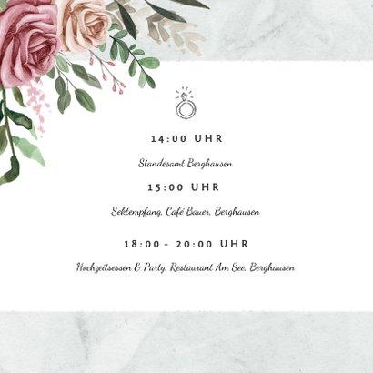 Einladungskarte zur Hochzeit Rosen & Marmor 2