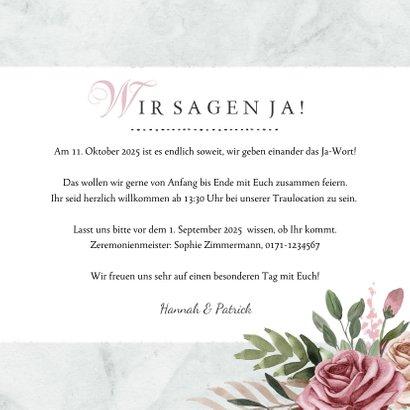Einladungskarte zur Hochzeit Rosen & Marmor 3