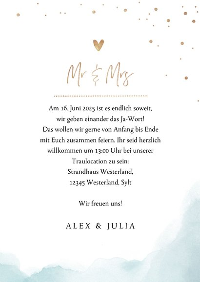 Einladungskarte zur Hochzeit Strandfeeling mit Foto 3