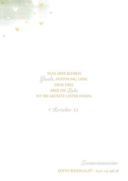 Einladungskarte zur Hochzeit Tauben und Herzen 2