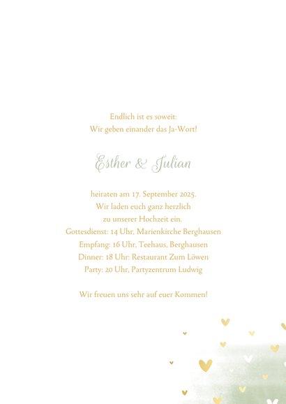 Einladungskarte zur Hochzeit Tauben und Herzen 3