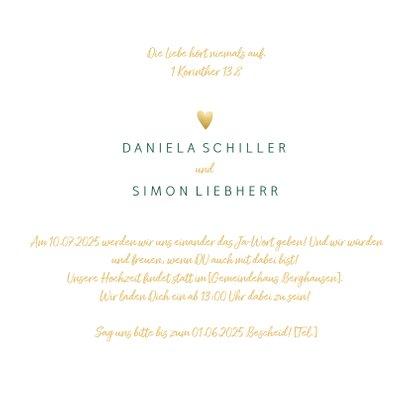 Einladungskarte zur Hochzeit 'Yes we do' im Goldlook 3